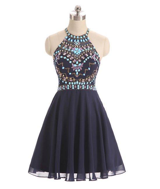 Navy Blue Halter Crystal Short Prom Dresses Homecoming Dress Custom Made Cheap Cocktail Dresses