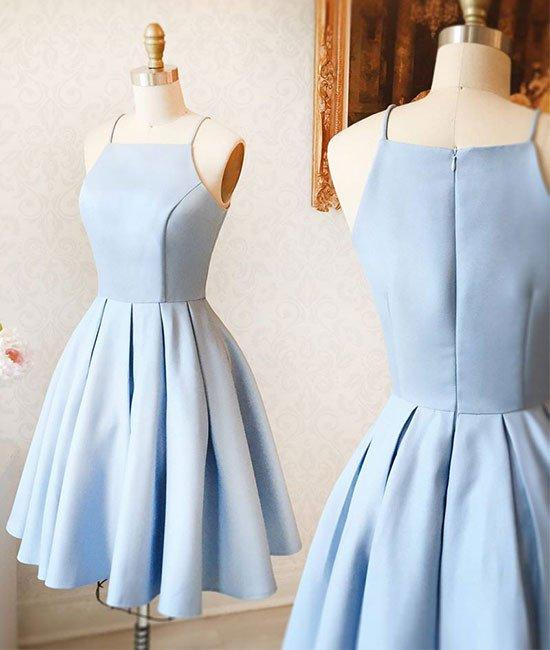Spaghetti Straps Light Blue Elegant Short Prom Dress Homecoming Dresses Custom Cheap Party Gowns