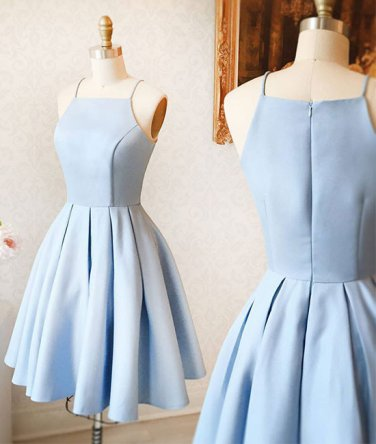 Spaghetti Straps Light Blue Elegant Short Prom Dress Homecoming Dresses Custom Cheap Party Gowns
