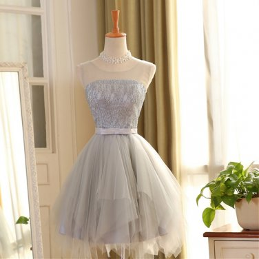 Hot Sales Silver Tulle HI-LO Cheap Short Prom Dresses Homecoming Dress Party Gowns