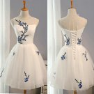 Hot Sales Ivory Appliques Flowers Custom Made Cheap Short Prom Dress Homecoming Dresses Party Gowns