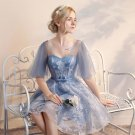 New Arrival Dark Blue Tulle White Lace Short Prom Dresses Homecoming Dress Party Gowns