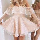 Sexy Skin Pink Lace Mini Length Cheap Prom Dress Homecoming Dresses Party Gowns