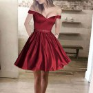 Charming Off the Shoulder Burgundy Short Prom Dress Homecoming Dresses Party Gowns With Pocket