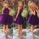 Hot Sales Halter Purple Back O Beads Ruffles Short Prom Dress Homecoming Dresses Custom Party Gowns