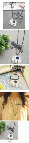Wooden Elephant Pendant Batterfly Bead Necklace