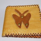Rustic Two Folded Cow Leather Purse Wallet Brown Bufferfly
