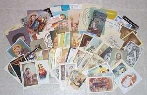 Large Religious Lot of 85 Holy Cards