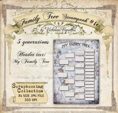 Family Tree: Steampunk #1c (blue, A4 size, JPG)