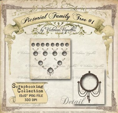 """Pictorial Family Tree #1 (12x12"""" size, PNG with transparent holes for photographs)"""