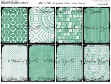ATC/ACEO backs: Retro Minty Dreams #1