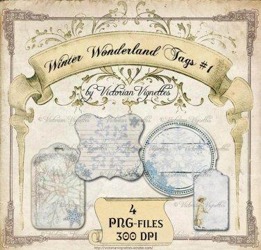 Digital Image Pack: Winter Wonderland Tags#1 (PNG, transparent background)