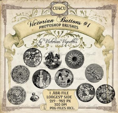 PS Brush: Victorian Buttons #1 (CU4CU, PNG's included)
