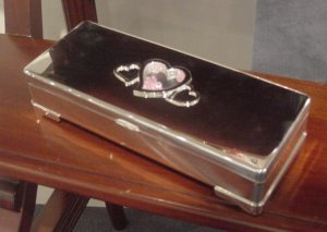 Silver Plated Floating Diamonds Jewelry Box