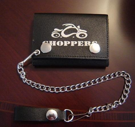 Black Leather Choppers Bike Tri Fold Chain Wallet