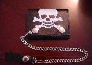 Black Leather Skull Tri Fold Chain Wallet
