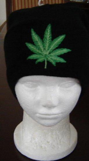 Black Marijuana Leaf Beanie Ski Hat