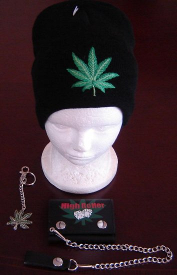 Leather tri fold wallet, keychain & Beanie Ski hat, Marijuana Leaf