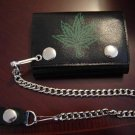 Black Leather 'Marijuana Leaf' Tri Fold Chain Wallet