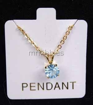 LIGHT BLUE STONE Pendant Necklace - 18K #4