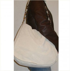 Prada extra large white suede hobo bag with authenticity card