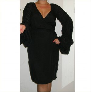 Escada $2,750 couture ruched black silk dress, 36