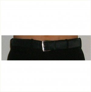 Salvatore Ferragamo black belt silver metal buckle, 34