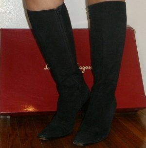 Ferragamo ultra classic black knee-high boots with original box, 5