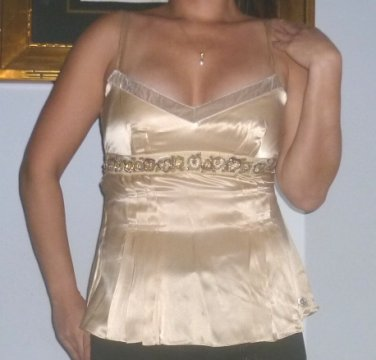 $600 New with Tags Galliano Silk Blouse with beading and embroidery