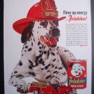 Friskies Fireman Helmet Truck Dalmatian Dog Photo Ad