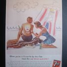 7-up seven-up man woman swimsuit beach vtg 60s print ad