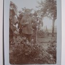 WWI German Army Man Poses in Flower Garden RPPC Photo