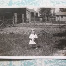 Cute Little Outfit Boy Poses in Farm Yard Vintage Photo