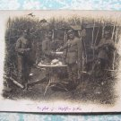 WWI German Soldiers Drinking Coffee in Woods RPPC Photo
