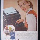 1945 PABST BLUE RIBBON BEER Typewriter Lady Vtg '40s Ad