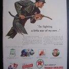 1945 TEXACO DEALERS Gas Pump Man WWII 40s Advertisement