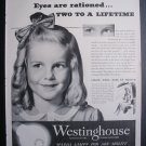 1945 WESTINGHOUSE MAZDA LAMPS Cute Little Girl '40s Ad