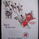 1951 TEXACO Dalmatian Puppy Dog Fireman Helmet Print Ad