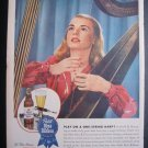 1945 PABST BLUE RIBBON BEER Harp Woman Vtg 40s Print Ad