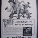 1941 WEATHER-BIRD Shoes Boy Girl Wagon Vtg 40s Print Ad