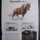 1945 DELCO-REMY BATTERY Horse Elephant Tiger Print Ad