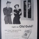 1945 OLD GOLD Cigarettes WWII Army Soldier 40s Print Ad