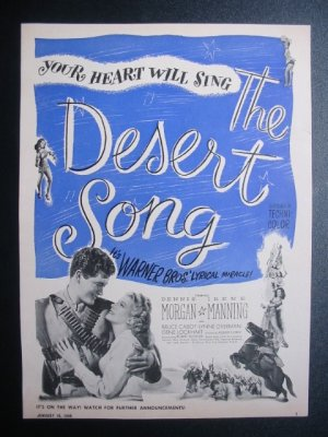 THE DESERT SONG Dennis Morgan Irene Manning Movie Ad