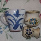 """Vintage Antique Ceramic Pitcher Lot Of 3 With Blue Flower Average 2"""" Norway"""