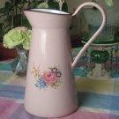 Pink Rose Bouquet Graniteware Pitcher Vintage Enamelware Blue Purple Yellow Flowers