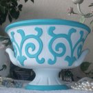 Chic Turquoise & White Scroll Compote Vintage Urn, Pedistal Bowl or Planter