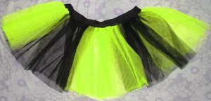 Tutu Skirt yellow black stirped Lime neon uv punk dance