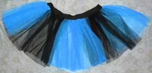 Blue Black Striped TUTU SKIRT Punk Cyber Rave Gothic