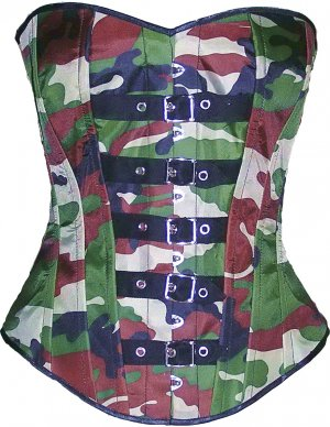 Camouflage Army CORSET BASQUE HEAVY LACING STEEL BONED front Trims