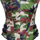 Camouflage Army CORSET BASQUE HEAVY LACING STEEL BONED side trims